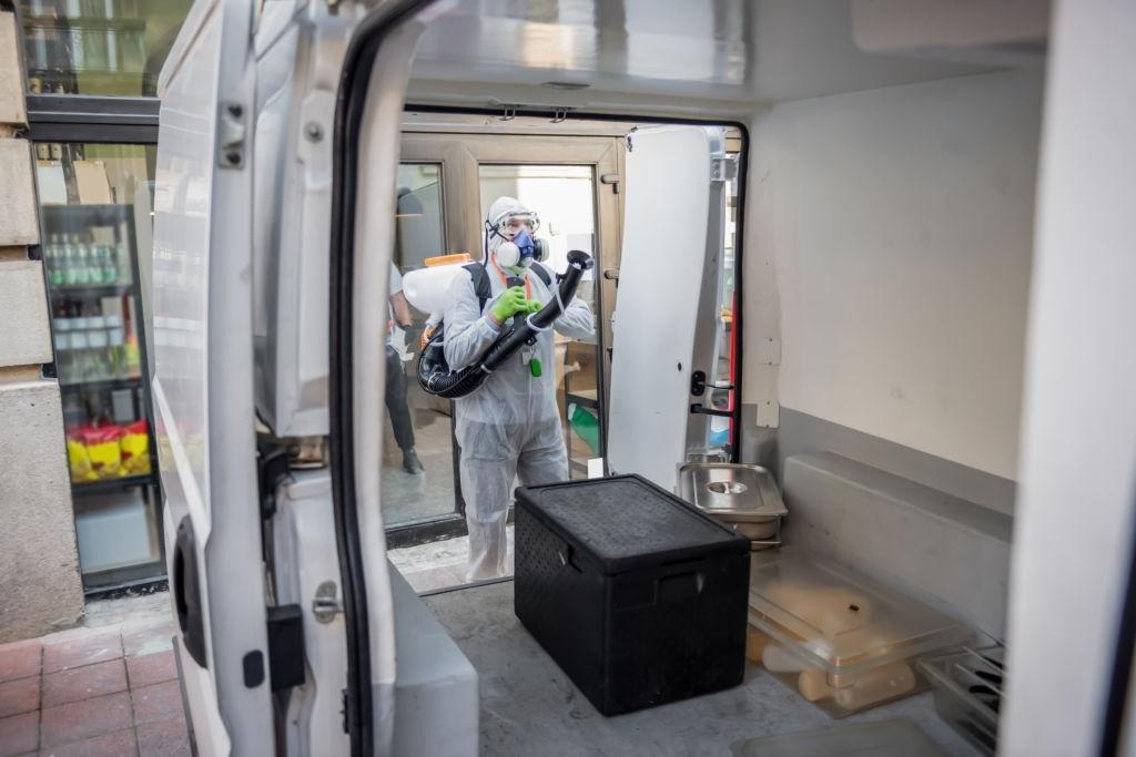 spraying car interior