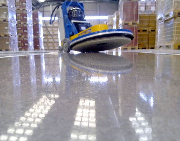 Buff & burnished VCT floor